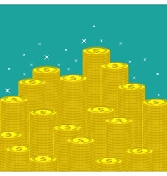 Flat money making background with coins vector