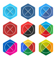 Flat popular social network hexagon icon delete vector