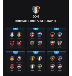 france 2016 football icons flags countries vector image