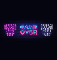 Game over neon text game over neon sign vector