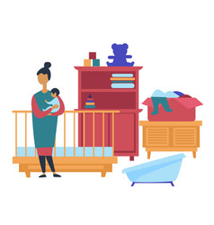 Garage sale childish furniture and toys customer vector