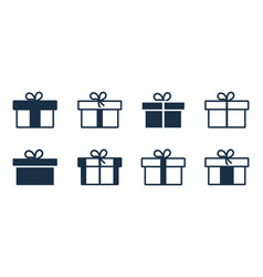 gift icon box present with bow outline package vector image