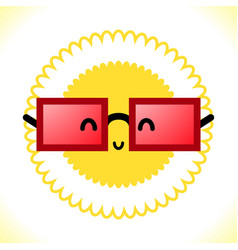 glasses and sun on white background vector image