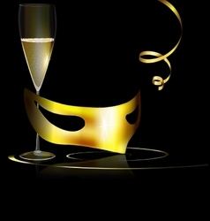 Golden mask and wine vector