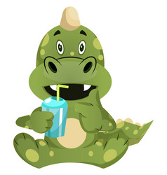 green dragon is drincing from plastic cup on vector image