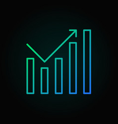 growing graph colored outline icon on dark vector image