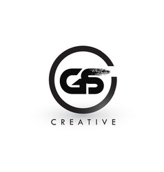 gs brush letter logo design creative brushed vector image