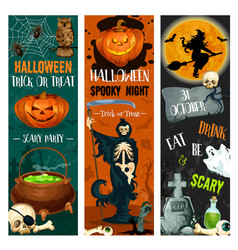 Halloween party sketch holiday night banner vector