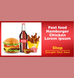 hamburger chicken wings and soda drink banner vector image