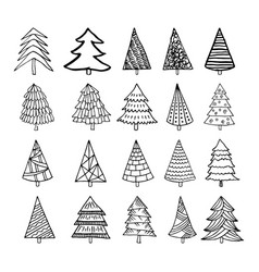hand drawn christmas trees vector image