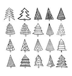 hand drawn christmas trees vector image