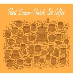 hand-drawn sketch coffee set vector image