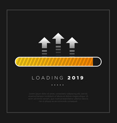 happy new year 2019 card theme yellow loading vector image