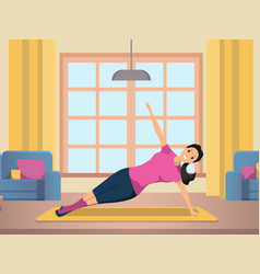 Happy woman doing morning fitness sport workout vector