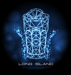 Hipster polygonal cocktail long island neon sign vector