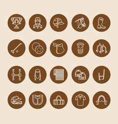 Horse polo flat line icons of vector