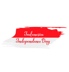 Indonesia independence day calligraphy hand vector