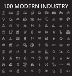 Industry icons editable line icons set on vector