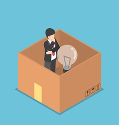 Isometric businessman think inside the box vector image