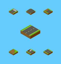 Isometric way set of crossroad repairs vector