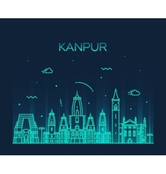 Kanpur skyline detailed linear vector