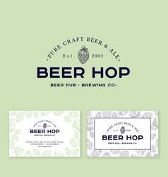 Logo beer hop cone pub ba brewery engraving style vector