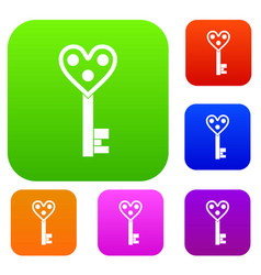 love key set color collection vector image
