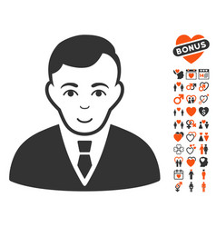 Manager icon with love bonus vector