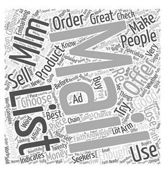 MLM Mailing List Word Cloud Concept vector image
