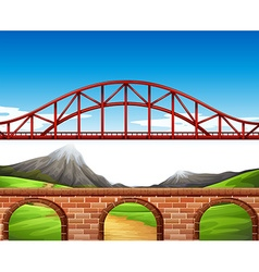 Nature scene with bridge and wall vector