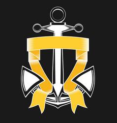 Nautical anchor with ribbon vector