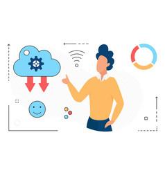 online data cloud storage man character uploading vector image