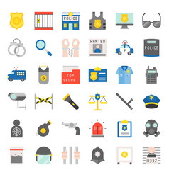 police related icon set vector image