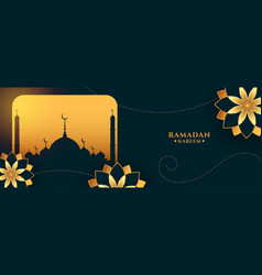 Ramadan kareem golden greeting banner with flowers vector