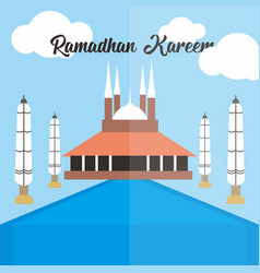Ramadhan kareem with mosque vector