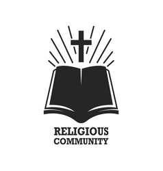 Religious community holy bible icon with cross vector