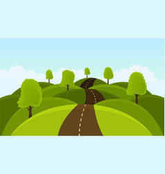 Road on hills among trees and meadows vector
