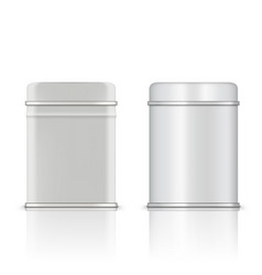round and rectangular white glossy tin can vector image