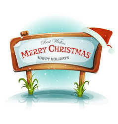 santa claus hat on christmas wood sign vector image