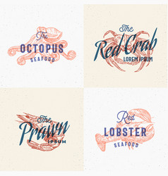 seafood labels set retro print effect cards vector image