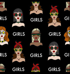 seamless pattern with girls in sunglasses vector image