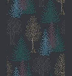 seamless pattern with hand drawn trees in vector image