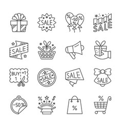 season sale line icon set editable stroke vector image
