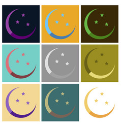 set of icons in flat style ramadan moon and stars vector image