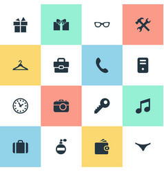 set of simple instrument icons vector image