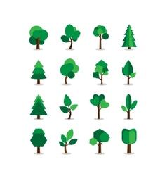 Set of tree symbols vector image vector image