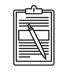 sign document icon outline style vector image