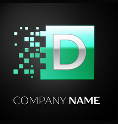 silver letter d logo symbol in the green square vector image