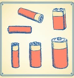 Sketch batteries set in vintage style vector image