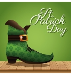 st patrick day boot wooden green background vector image
